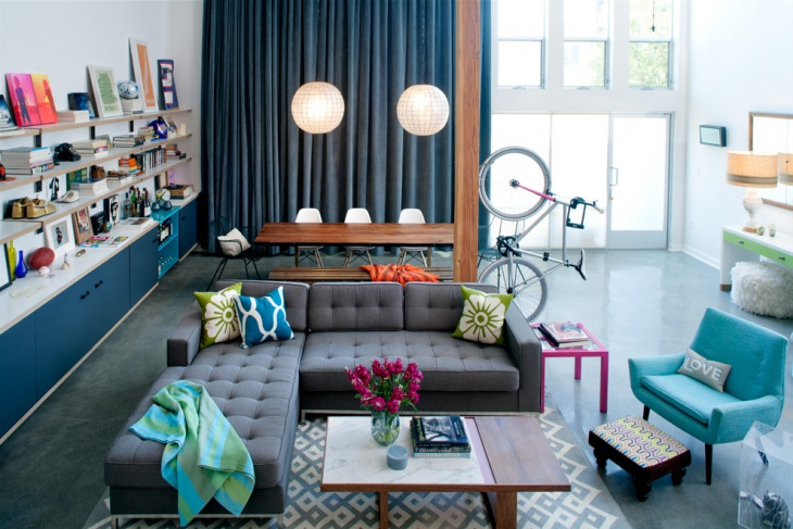 Eclectic Turquoise Living Room