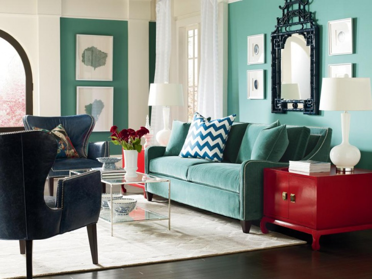 Turquoise Living Room Wall Mirror Idea