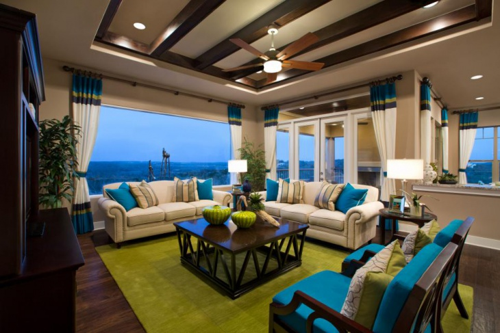 Green Rug Turquoise Living Room