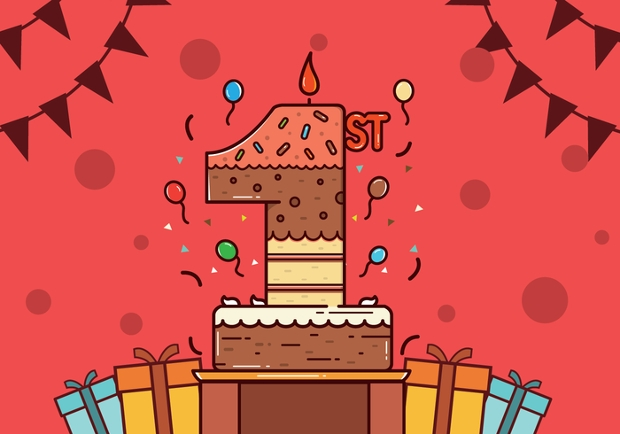 High Resolution First Birthday Vector