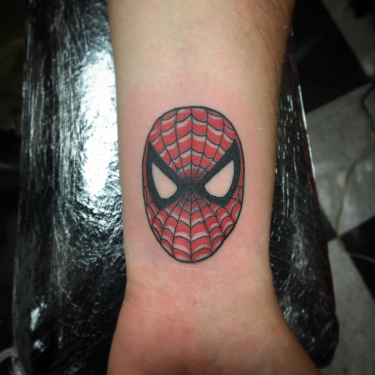 Spiderman Head Tattoo