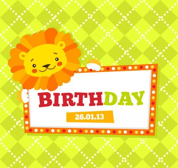 Children Birthday Card Free Vector