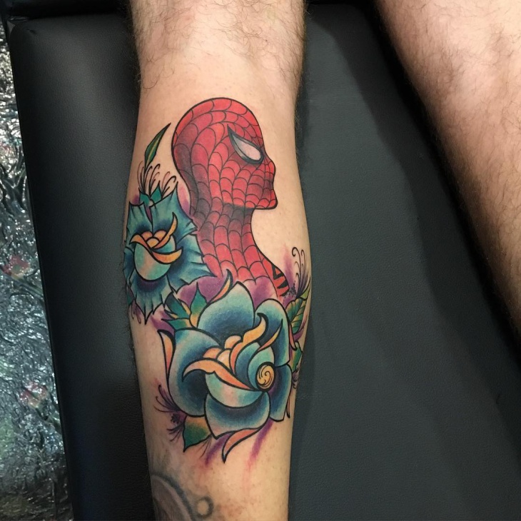 Flower Spiderman Tattoo