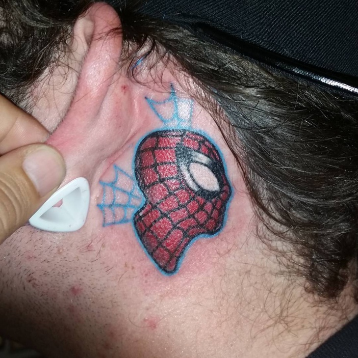 Spiderman Tattoo for Behind Ear