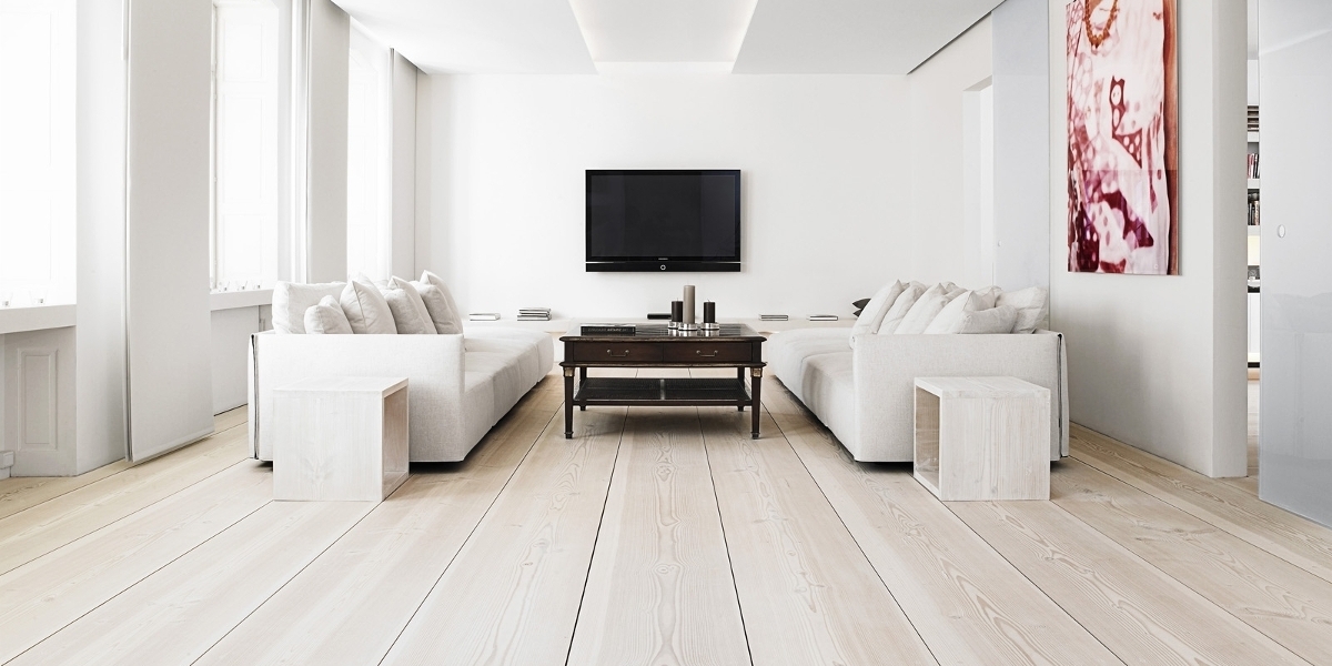 All White With Wooden Flooring