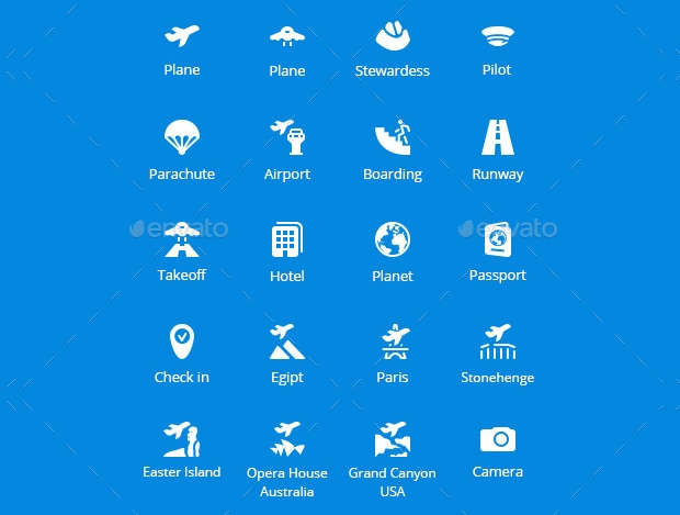 flight booking vector icons