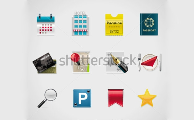 hotel booking vector icons