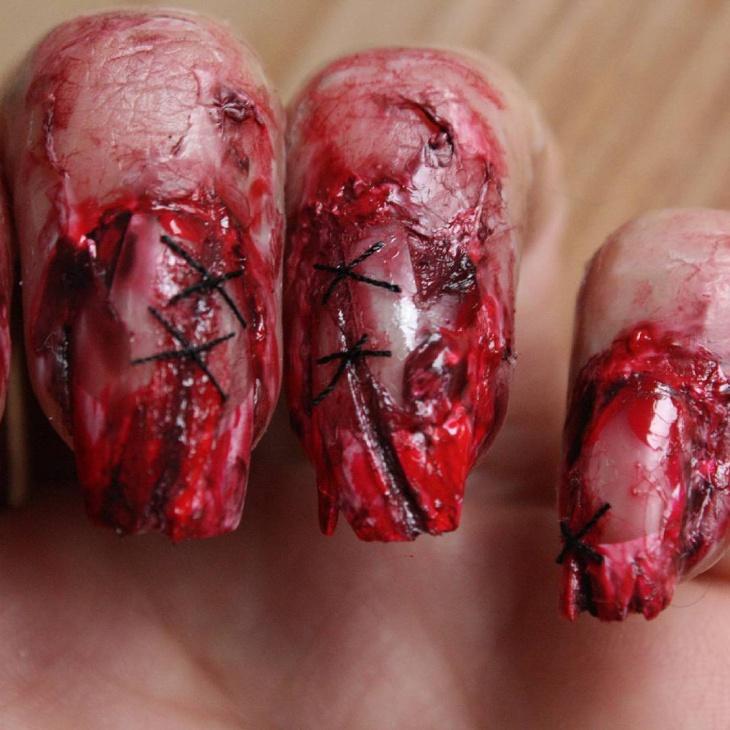Stitched Zombie Nail Art