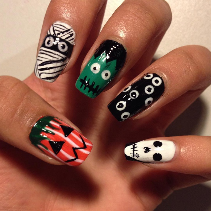 Black and White Zombie Nails