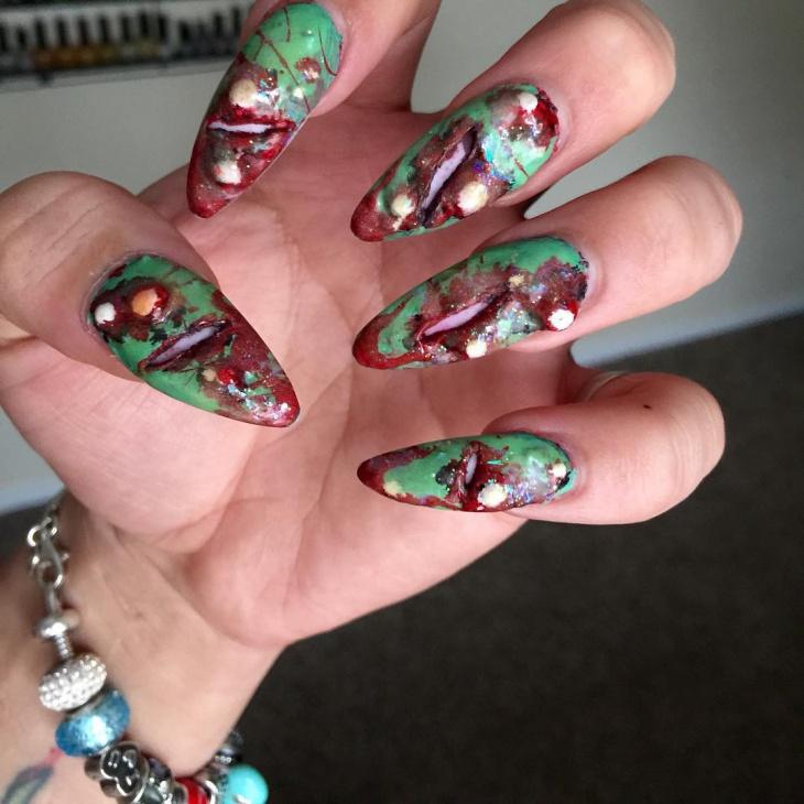 Long Zombie Nail Art