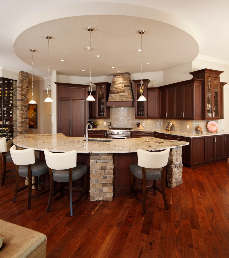 L Shaped Kitchen Designs With Island Kitchen Transitional: 18+ Curved Kitchen Island Designs, Ideas