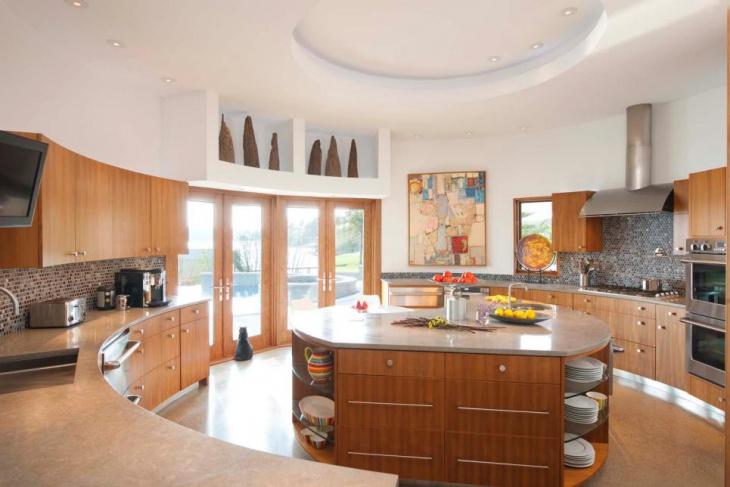 Wooden Curved Kitchen Island