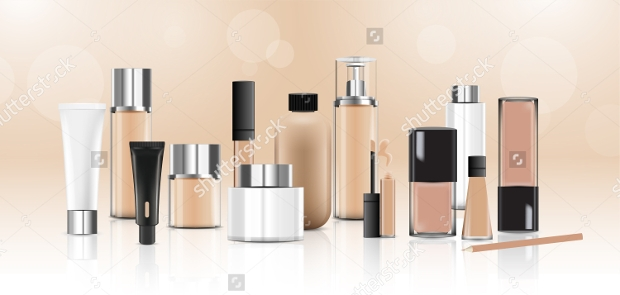 cosmetics packages design beauty products vector