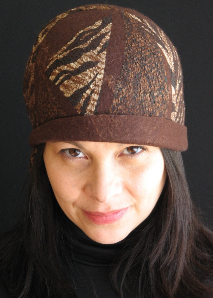 animal print brown hat