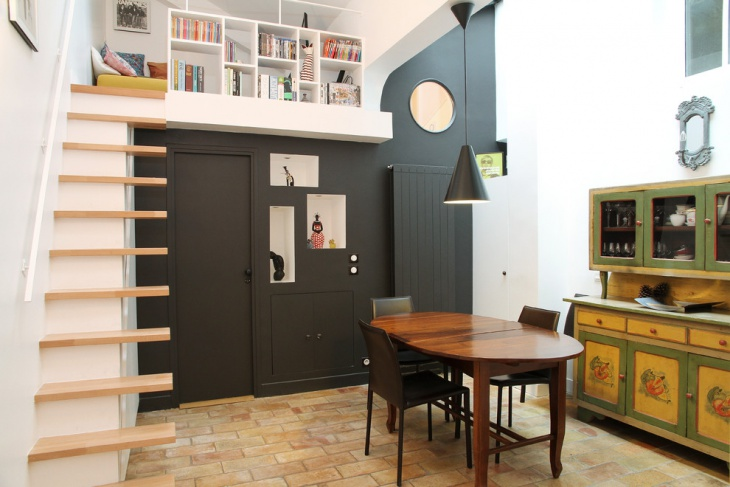 18 loft staircase designs ideas design trends for Loft dining room ideas