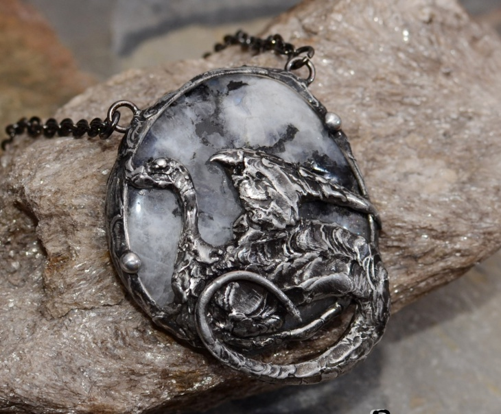 Moonstone Dragon Pendant