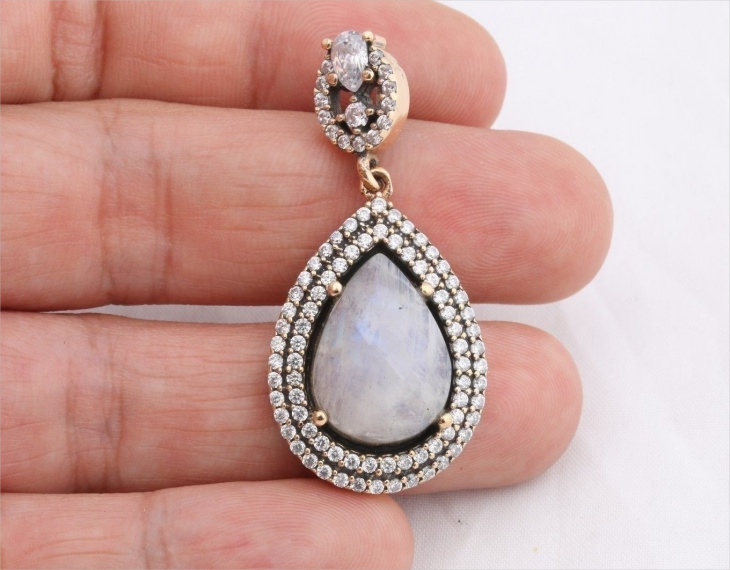moonstone drop pendant
