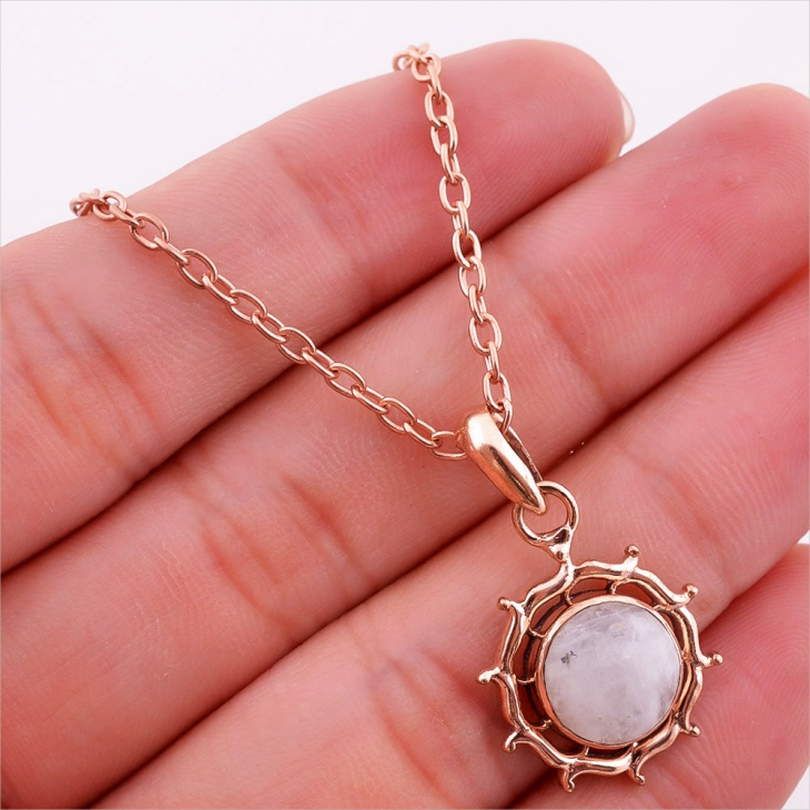 rose gold moonstone pendant