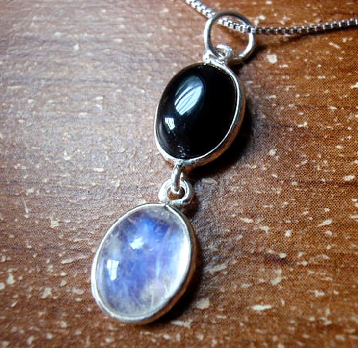 Black Onyx and Rainbow Moonstone Pendant