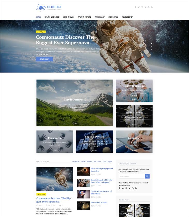 science news portal magazine blog theme