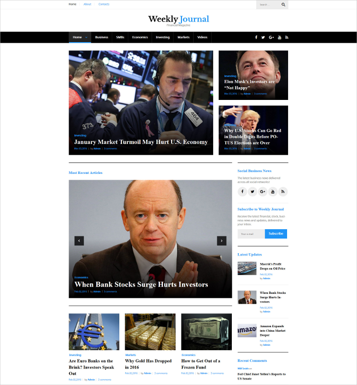 financial news magazine blog wordpress theme