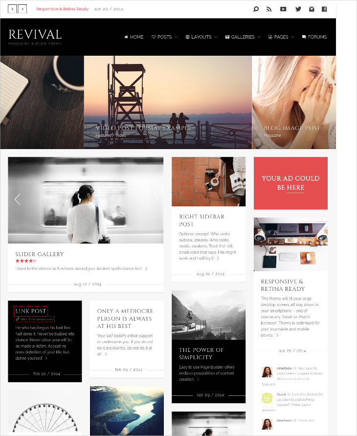 retina ready magazine blog theme