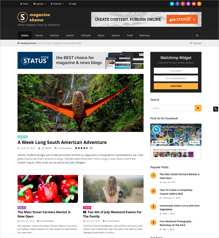 status responsive news magazine blog theme