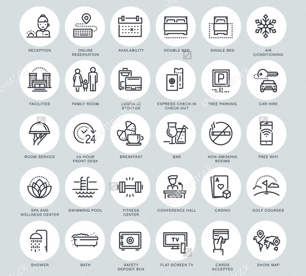 vacation rental vector icons2