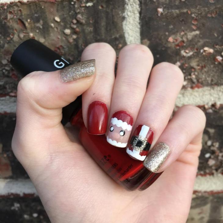 Glitter Christmas Nail Design