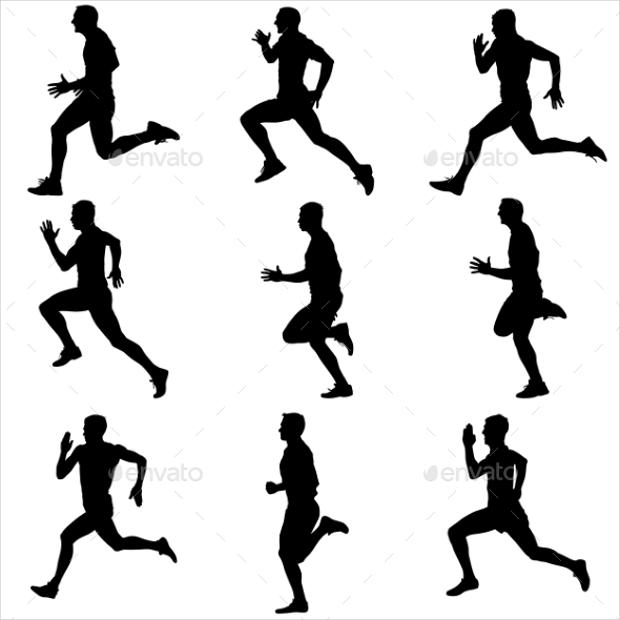 runners on sprint vector illustration