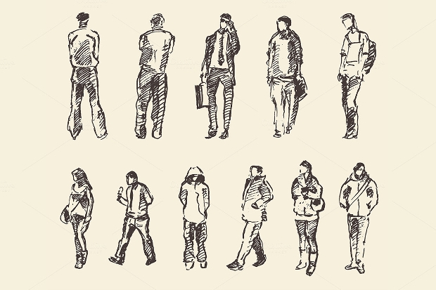 Hand Drawn People Sketch Vector