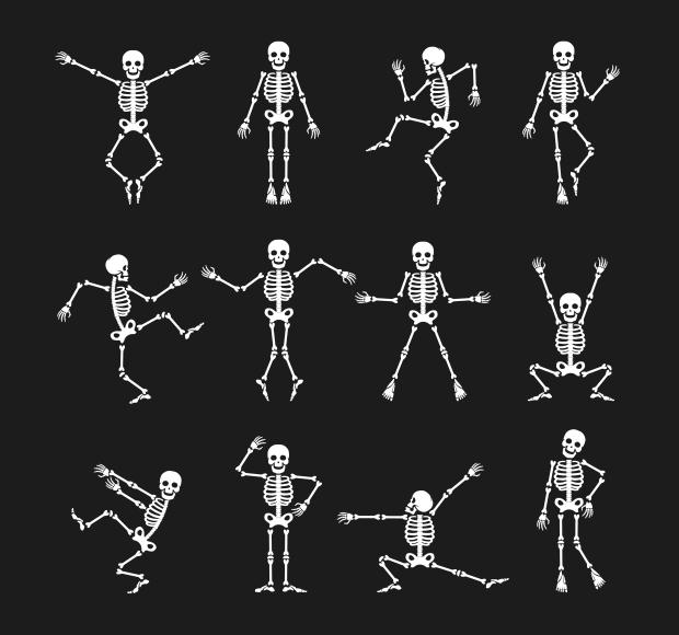 funny dancing skeleton vector