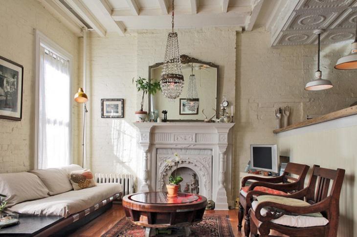 antique living room chandelier idea