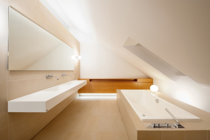 Modern Vaulted Ceiling Bathroom