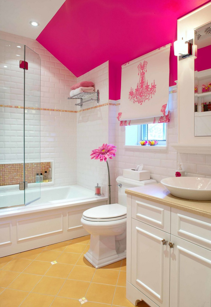 Pink Vaulted Ceiling Bathroom