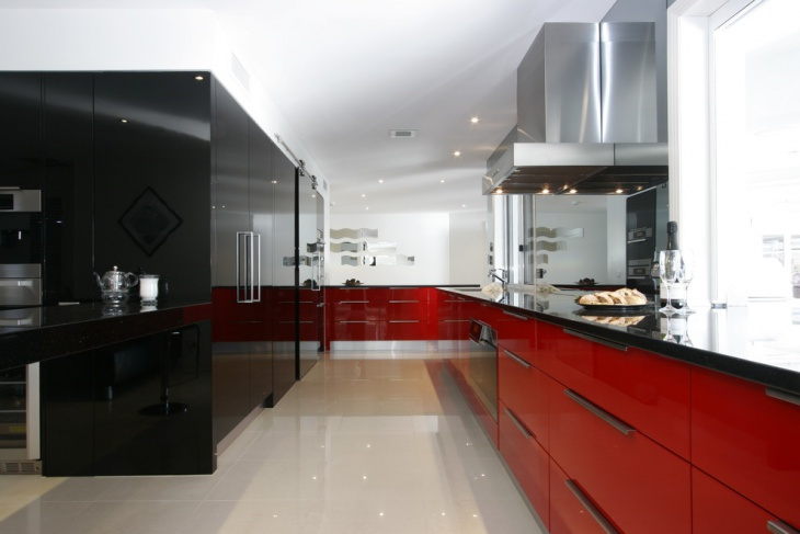 red black and white kitchen accessories