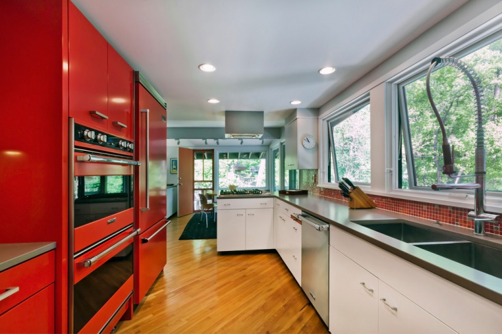 white and red kitchen design