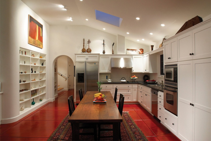 red floor white kitchen idea