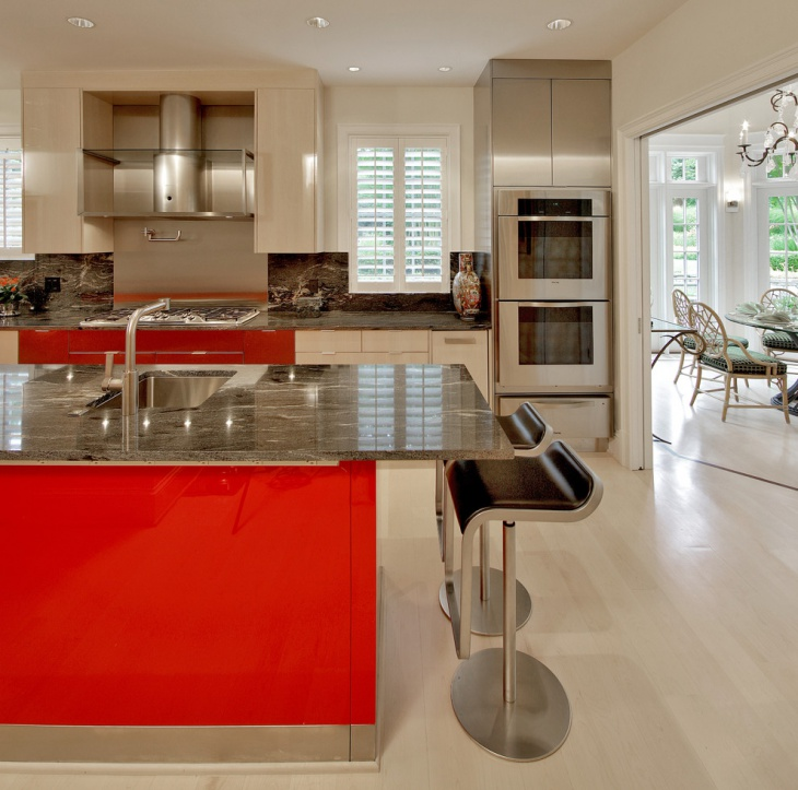 Cherry Red And White Kitchen Design