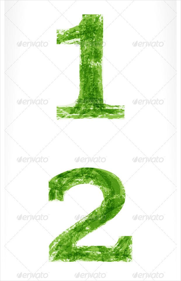 number grunge vector