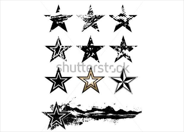 grunge vector stars set