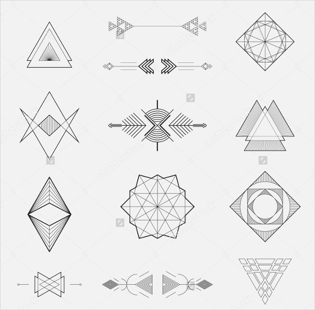 set of geometric triangle lines vector