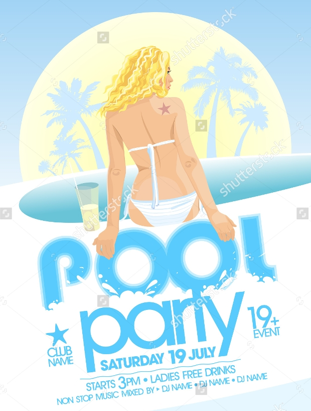16 pool party invitation templates printable psd ai for Pool design trends 2016