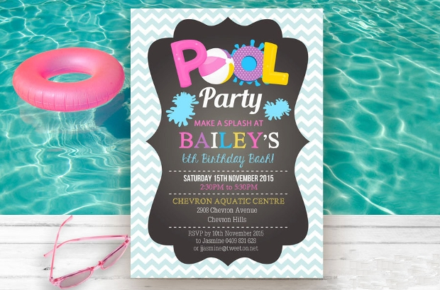 Girl Pool Party Invitation
