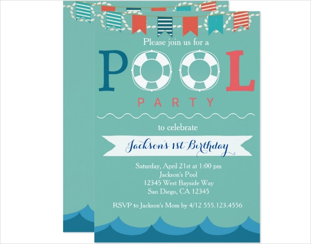 Nautical Pool Party Invitation