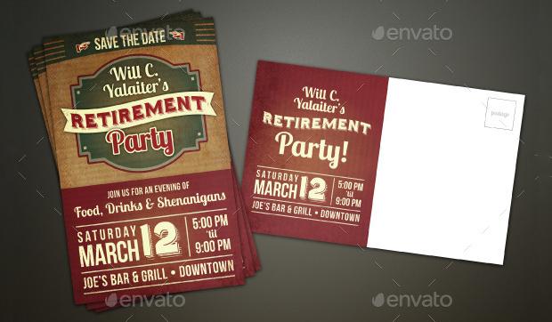 Vintage Retirement Party Postcard Invitation