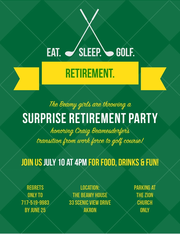 Retirement Party Invitation Templates  Printable Psd Ai