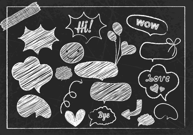 chalk drawn speech bubble brush pack