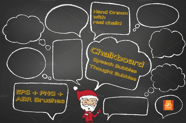 chalkboard speech thought bubbles