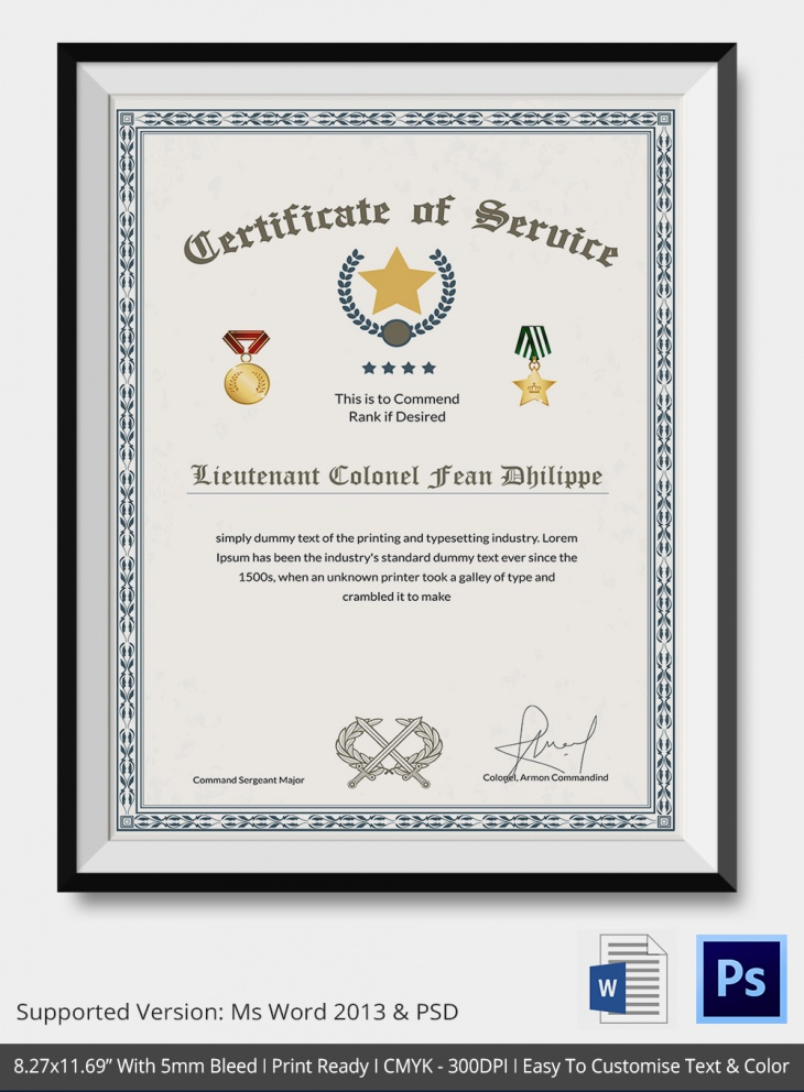 army certificate of service thank you